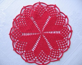 "5819 New Crochet, Red Hearts Around Doily, 9"""