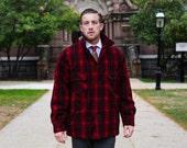 The North Woodsman - Vintage Bemidji - Red and Black Plaid Wool Winter Jacket
