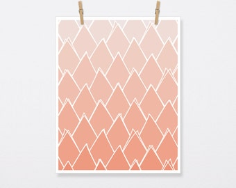 Abstract Coral Triangles, Triangle, Coral, Coral Art, Coral Print, Coral Artwork, Coral Poster, Triangle Print, Triangle Art, 6 Sizes