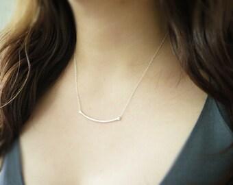 Sterling silver bar necklace - long curve - hammered bar - modern minimal