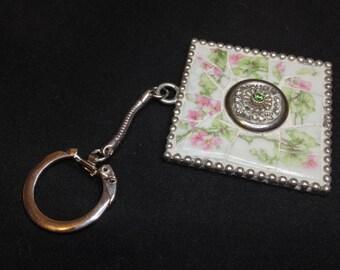 MOSAIC LIMOGES KEY Chain, Broken China Key Chain , Mosaic, Mosaics, Broken China Jewelry, Valentines Day Gift