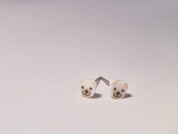 Cute White Bear Earring Studs