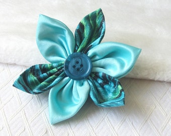 Teal Flower Pin,  Fabric Corsage,  Floral Accessory, Yarnawayknits, UK seller