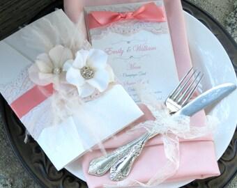 VINTAGE GLAMOUR: Coral and Blush Elegant Lace Pocketfold Wedding Invitation, Satin Ribbon Invitation, Feather Flower Invitation