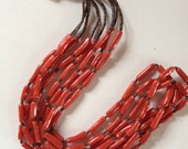 Fantastic Handmade Native American Old Pawn Navajo Coral Sterling Silver & Heishi Necklace