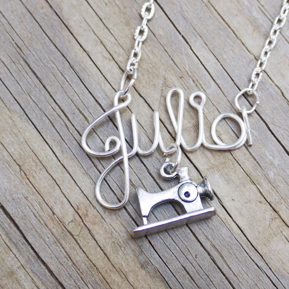 Sewing machine, seamstress, designer name necklace
