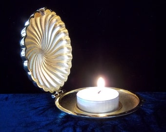 Golden Brass Shell Candle Holder by Partylite