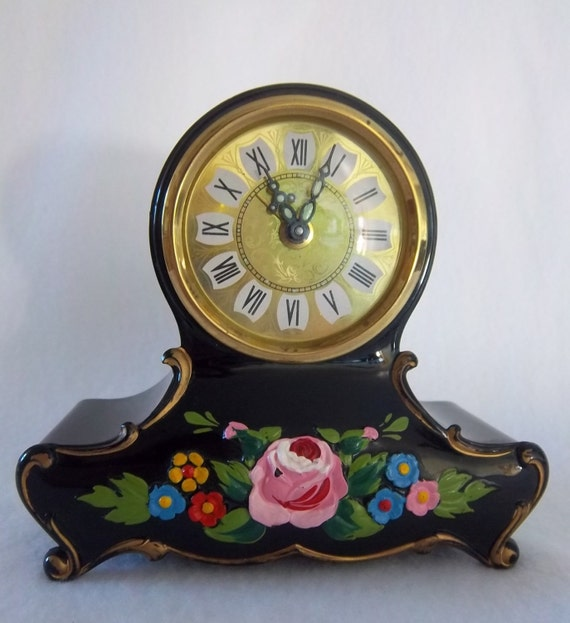 Hand Painted Traditional Black Enamel German Mantle Clock