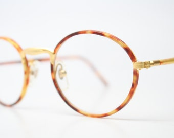 Unique Vintage Gold Tortoise Oval Shaped Eyeglass Frames Retro Eyeglasses