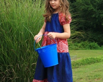 Girls Maxi Dress - Kids Dress - Denim Dress for Girls - Modest Dress for Girls - Western Dress for Kids -Girls Summer Dress - Blue Dress
