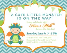Monster Baby Shower Invitation Chevron Teal Orange Green - Monster Baby Shower Invite Boy Chevron - Shower Chevron Monster Teal Orange Green