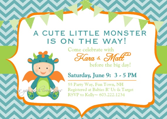 monster baby shower invitation boy by asyouwishcreationsu on etsy, Baby shower