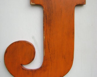 "large wood letter J rustic baby nursey wall hanging initials - 18"" Tall 3/4"" thick"