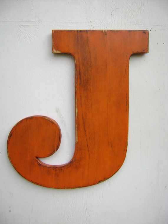 Items similar to large wood letter j rustic baby nursey for Large letter j for wall