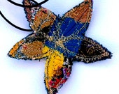 Stitched Textile Flower Pendant Blue Yellow & Purple