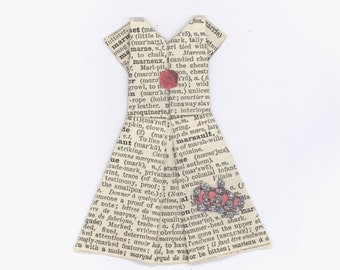 Origami Paper Dress | Blank Card | Glitter Crown | French Ephemera