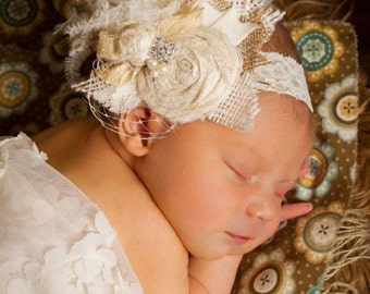 Ivory Cream Tan and Burlap Handrolled Dupioni Silk Rosettes, pearls, feathers, Crystals, veiling