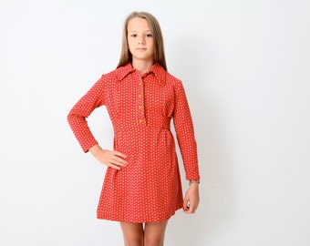 Vintage Red Knit Shirt Dress Scandinavian Style with Blue and Yellow Hearts 1970s