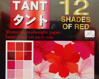 Origami Paper - 96 sheets of Tant Red 3 inch origami paper - same color both sides - 12 shades of red origami paper