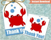 Crab Gift Tags - Under the Sea Party Favor Tags - Instant Download