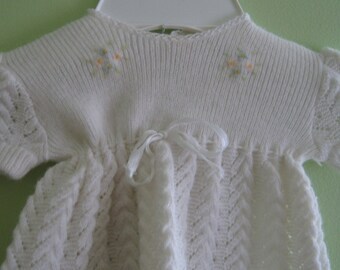 Vintage cream colored baby girls knit dress by Renzo of Italy