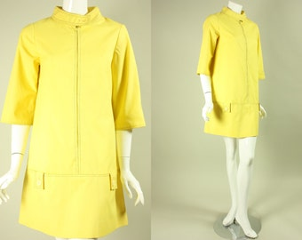 1960's BRIGHT YELLOW MINI Vintage Cotton Day Glo Mod Dress by Tami Sophisticates of San Francisco Designer Go Go