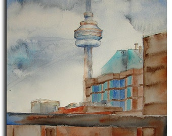 "City of Toronto 9""x12"" ORIGINAL Watercolor Painting on paper by Tatjana Ruzin - Original Art, Cityscape - CN Tower, boyfriend gift"