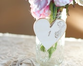 Heart Table Numbers- Set of 3 by Burlap and Linen Co