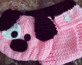 Hand Knitted Baby Beanie Hat and Diaper Cover Set Pink Puppy Dog