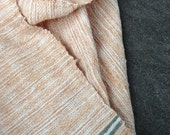 Handwoven shawl/wrap with natural dyed hand-spun organic cotton: Light brown/blue
