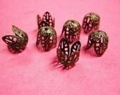 30pc 12x10mm antique bronze filigree bead caps-2294