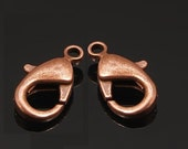 10 pc 12x7mm antique copper finish brass made Nickel free small lobster clasp-5672