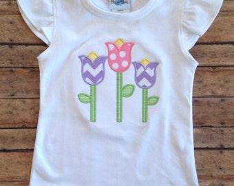 Tulip Applique Shirt / Flower Applique Shirt / Personalized Tulip Applique Shirt / Monogrammed Tulip Girls Tee