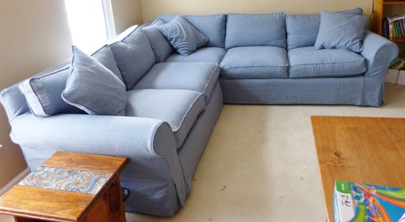 2 piece 13 Cushion Sectional Slipcover- 1 Arm Cornering Sofa- 1 Arm Sofa