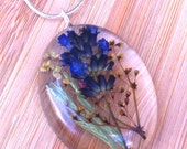 RESERVED for Norma Indigo wild flower oval pendant