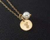 REDUCED - Personalized Bridesmaid Necklace - Pearl, Gold filled, Bridal Party Gifts, Flower Girl Gift, Initial Stamp - WAS 26.99 Now 21.99