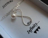 Sisters for Infinity Necklace - Best Friend Gifts, Mothers Gifts, Sterling Silver Infinity, Swarovski Pearl