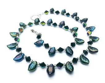 Black Oil Slick Leaves and Crystals Necklace with Toggle Clasp