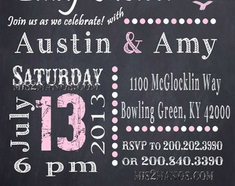 Chalkboard Couples BBQ and Baby Shower Invitation, chalkboard,Pink, Shower invitation, couple baby shower, printable, digital file