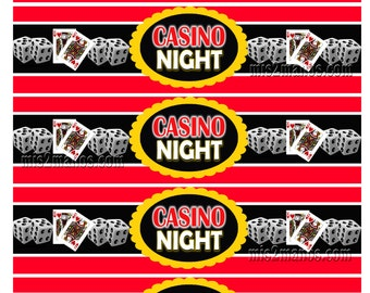 Casino Night Water Bottle Labels or Wrappers Napkin Rings Printable Digital Instant Download  SET of 5