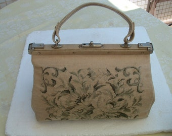 free shipping Hand bag leather with vintage floral petite point needlepoint embroidere made in France circa 1955's