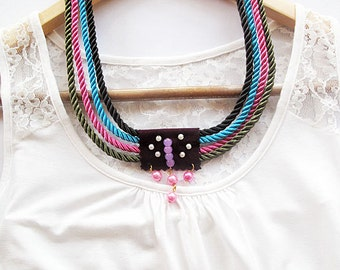 Black, Green, Pink, Blue, Nautical Sailor's Knot Jewelry, Summer Accessory, Rope Necklace