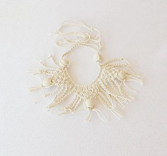 Macrame Collar Necklace, Macrame knitting Necklace, Macrame Spider Pattern, Hand Knitting, Beige Bohemian, Summer Necklace