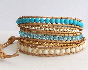 Turquoise Leather Wrap Bracelet - Turquoise and Metal Bead Nuggets on Natural Leather - Boho Beach