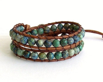 Leather Wrap Bracelet with African Turquoise Beads on Brown Leather