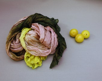 pink silk scarf -  Plum perfection  -  pink, rose, olive, yellow, brown, olive green silk scarf.