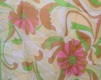 Vintage Chiffon Scarf 1960's floral mod mad men psychedelic