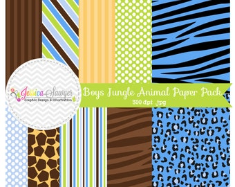 INSTANT DOWNLOAD, boys jungle animal digital papers, safari digital backgrounds, cards, scrapbooking, invites