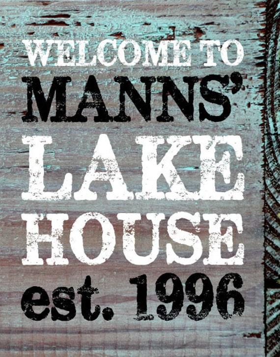 Customized Lake House / Beach House Name and Established Date - PRINT - Wood Grain Look - 11 x 14