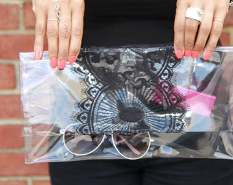 Clear Clutch, Purse, Black Lace Purse, Ladies Accessories, Chic